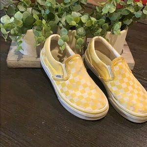 White and yellow checkerboard pattern Vans